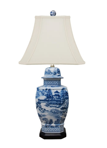 Blue and White Blue Willow Porcelain Temple Jar Table Lamp 27""