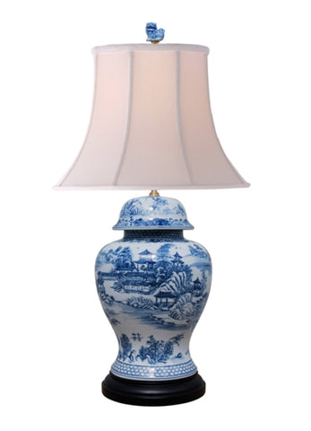 Beautiful Chinese Blue and White Blue Willow Porcelain Temple Jar Table Lamp 30""