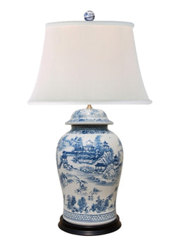Beautiful Chinese Blue and White Blue Willow Porcelain Temple Jar Table Lamp 35""