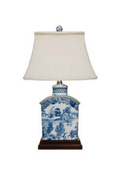 Chinese Blue and White Blue Willow Porcelain Tea Caddy Table Lamp 17.5""