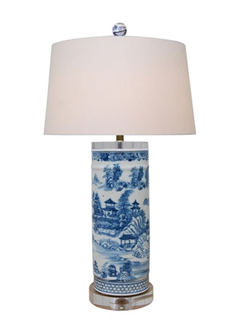 Blue and White Blue Willow Porcelain Vase Crystal Base Table Lamp 26""