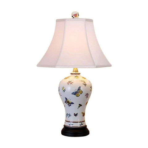 Chinese Porcelain Butterfly Motif Vase Table Lamp 22""