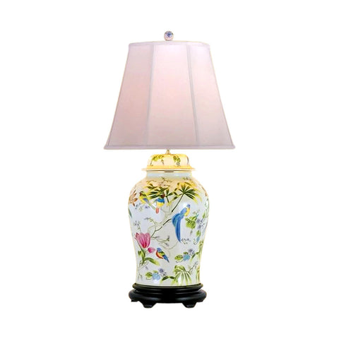 Chinese Porcelain Bird and Floral Motif Temple Jar Table Lamp 28""