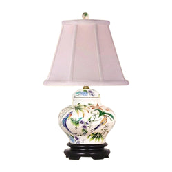 Chinese Porcelain Bird and Floral Motif Ginger Jar Table Lamp 16.5""