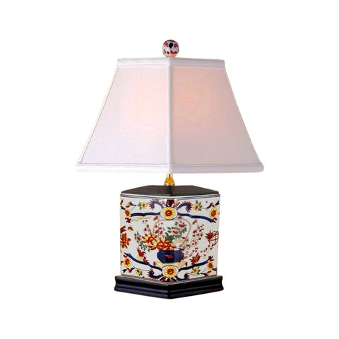 Chinese Porcelain Diamond Shaped Vase Floral Imari Motif Table Lamp 16""