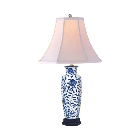 Chinese Blue and White Porcelain Vase Floral Vine Motif Table Lamp 24""
