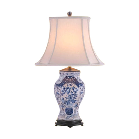 Chinese Blue and White Porcelain Vase Chinoiserie Floral Table Lamp 28""