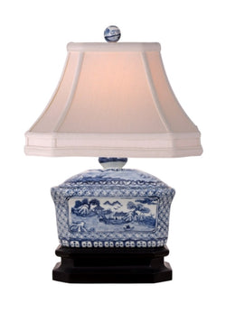 Beautiful Blue and White Porcelain Candy Box Table Lamp Blue Willow 15""