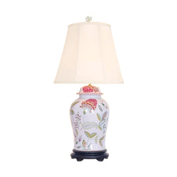 Chinese Porcelain Raspberry Floral Motif Temple Jar Table Lamp 33""