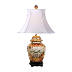 Chinese Porcelain Satsuma Style Scalloped Temple Jar Table Lamp 26""