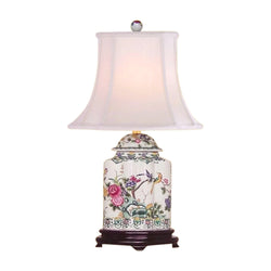 Chinese Porcelain Famille Bird Motif Scallop Ginger Jar Table Lamp 22""