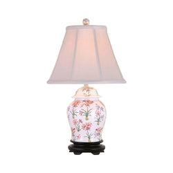 Chinese Porcelain Tropical Floral Motif Temple Jar Table Lamp 20.5""