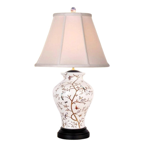 Chinese Porcelain Bird Motif Round Vase Table Lamp 26""