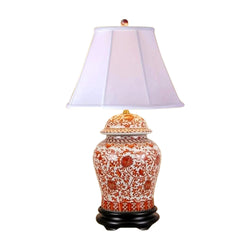 Beautiful Oriental Porcelain Orange And White Ginger Jar Lamp Lotus Pattern 29""