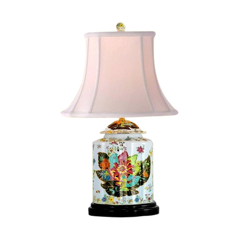 Beautiful Tobacco Leaf Porcelain Tea Jar Caddy Table Lamp 27""