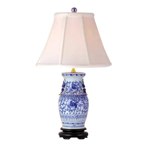 Beautiful Blue and White Porcelain Vase Table Lamp Lotus Vine Pattern 23""