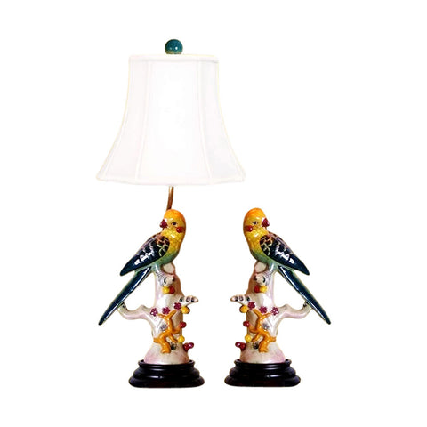 Beautiful Pair of Multi Color Yellow and Green Colored Bird Table Lamp