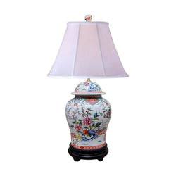Chinese Porcelain Floral Motif Temple Jar Table Lamp 29""