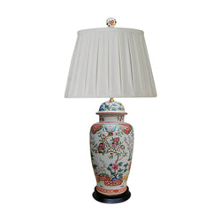 Chinese Porcelain Floral Motif Temple Jar Table Lamp 30""