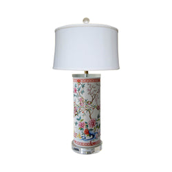 Chinese Porcelain Floral Motif Cylindrical Vase Acrylic Base Table Lamp 25""