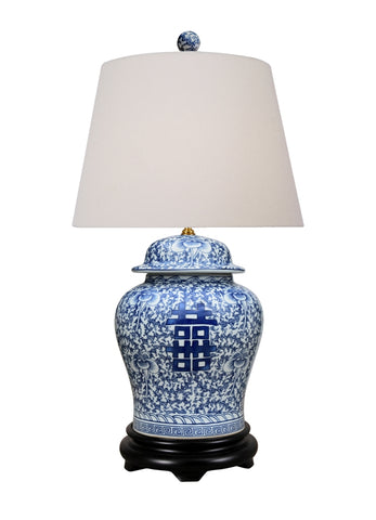 Beautiful Blue and White Porcelain Ginger Jar Table Lamp Double Happiness 28.5""