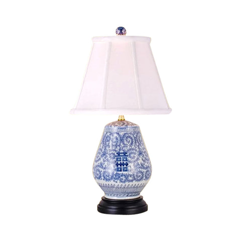 Chinese Blue and White Porcelain Egg Vase Double Happiness Table Lamp 22.5""