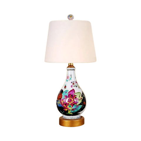 Cute Round Tobacco Leaf Chinese Porcelain Table Lamp 17""