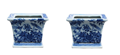 Blue and White Pair of Square Porcelain Pot Bird and Floral Motif 6""