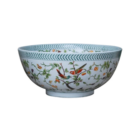 "Beautiful Floral Bird Motif Porcelain Bowl 14"" Diameter"