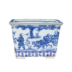 Blue and White Rectangular Porcelain Pot War Motif