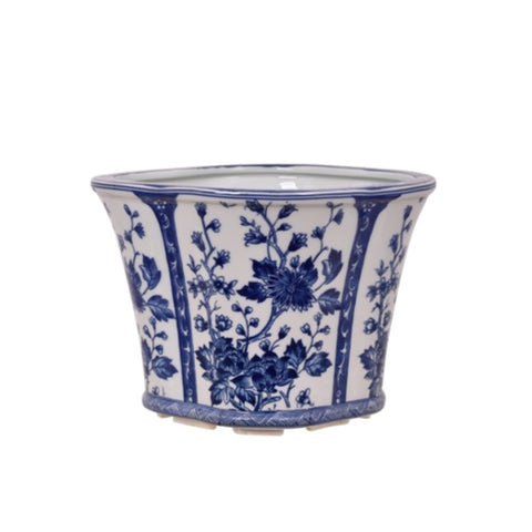 "Blue and White Floral Motif Porcelain Oval Pot 12"" Wide"