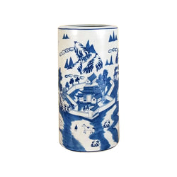 Beautiful Chinese Blue and White Blue Willow Porcelain Umbrella Stand 18""