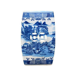 Chinese Blue and White Blue Willow Square Garden Stool 18""