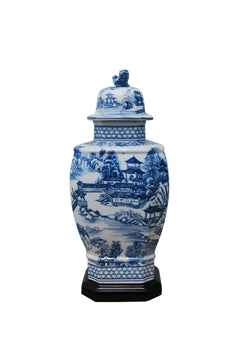 Blue and White Porcelain Landscape Blue Willow Hexagonal Temple Jar 14""