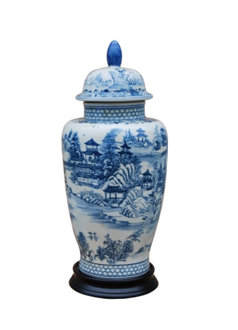 Beautiful Blue and White Porcelain Landscape Blue Willow Temple Jar 16""