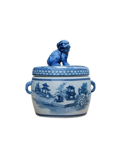 Cute Blue and White Blue Willow Motif Porcelain Canister Foo Dog Top 7""