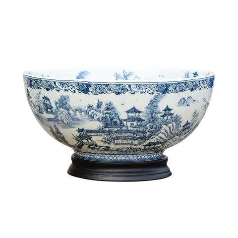 "Chinese Blue and White Blue Willow Porcelain Bowl w Base 14"" Diameter"