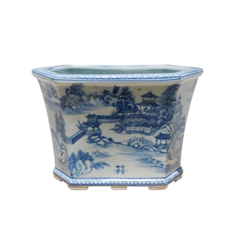 Beautiful Blue and White Blue Willow Landscape Porcelain Hexagonal Pot
