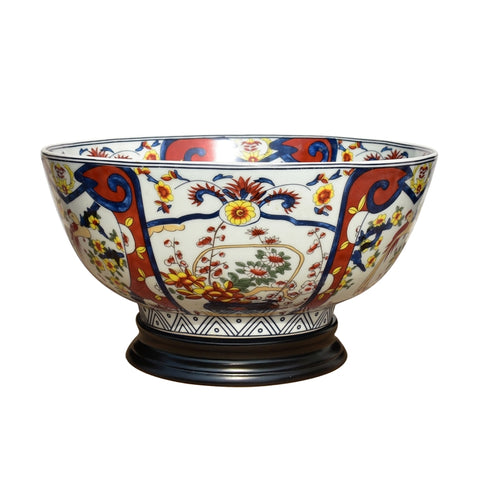 "Beautiful Imari Style Porcelain Bowl with Stand 14"" Diameter"