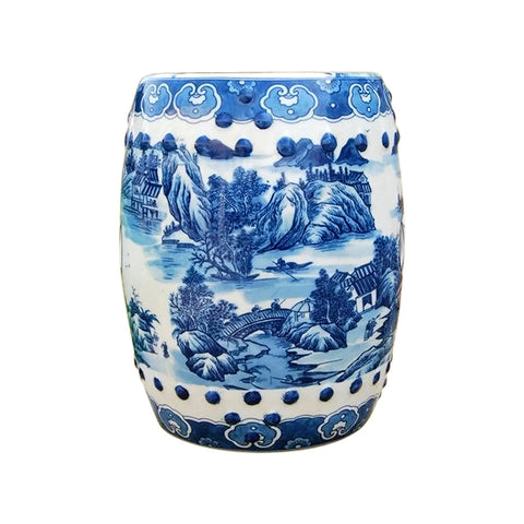 Chinese Blue and White Blue Willow Round Garden Stool 18""