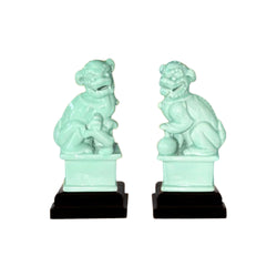 Beautiful Pair of Porcelain Foo Dog on Pedestal Green 10""