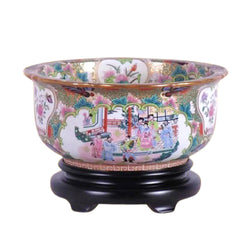 "Chinese Rose Canton Porcelain Bowl w Base 15"" Diameter"