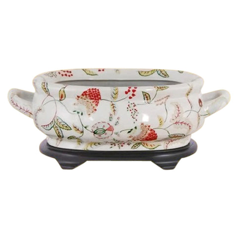 Beautiful Chinese Floral Berry Porcelain Foot Bath Basin Pot
