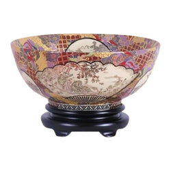 "Chinese Satsuma Porcelain Bowl w Base 14"" Diameter"