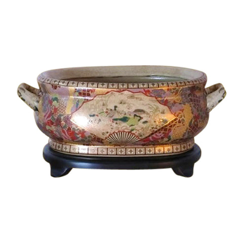 Beautiful Chinese Satsuma Porcelain Foot Bath Basin Pot
