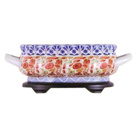 Beautiful Chinese Blue White and Red Porcelain Foot Bath Basin Pot