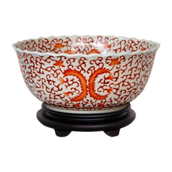 "Chinese Orange and White Floral Porcelain Bowl w Base 14"" Diameter"