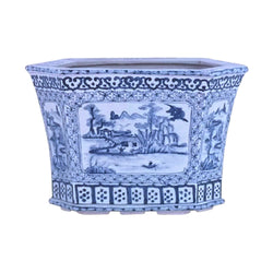 Beautiful Oriental Blue and White Blue Willow Hexagonal Porcelain Pot