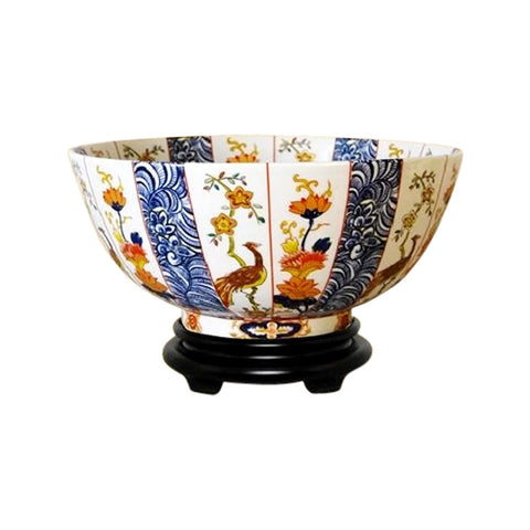 "Chinese Imari Motif Porcelain Bowl w Base 14"" Diameter"