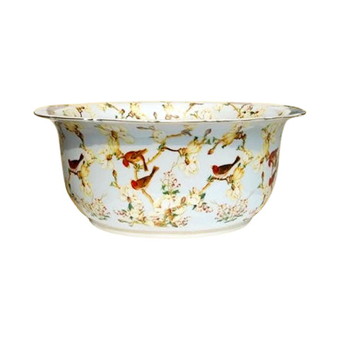 "Chinese Large Multi Color Floral Bird Pattern Porcelain Bowl 16"" Diameter"